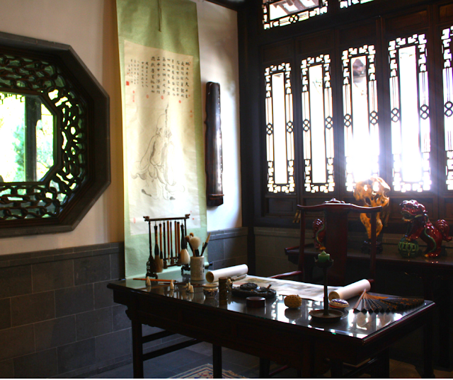 The Scholar's Study with implements and artifacts Chinese scholars would use at Lan Su.