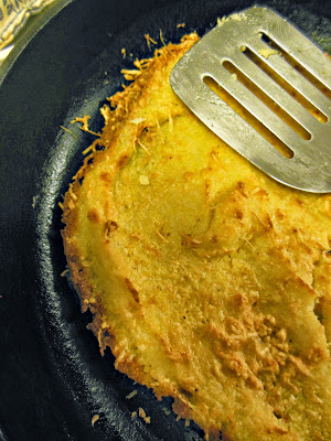 Baked Polenta with Parmesan, crispy delicious edges of cheese.