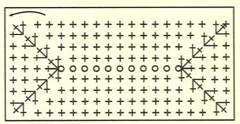 Схема для вязания прямоугольного дна для сумки.