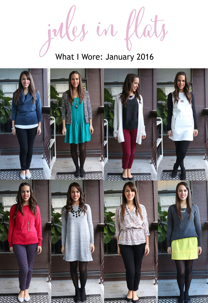 Jules In Flats Monthly Outfit Collage January 2016