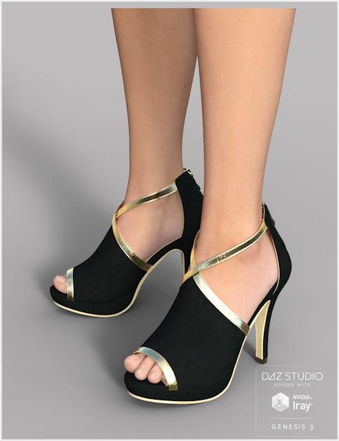 Black Gold Heels for Genesis 3 Female