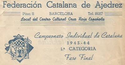 Recorte de la portada del díptico sobre el Campeonato Individual de Catalunya 1944