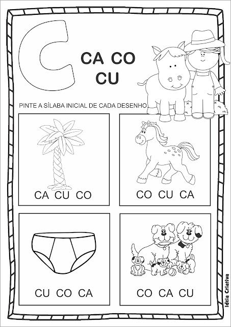 Atividade Família Silábica Letra C duas opções de impressão