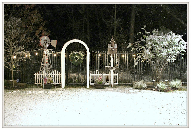 Texas Snow 20017-Christmas-Farmhouse-Windmill-Arbor-Garden-Snow Fall-From My Front Porch To Yours