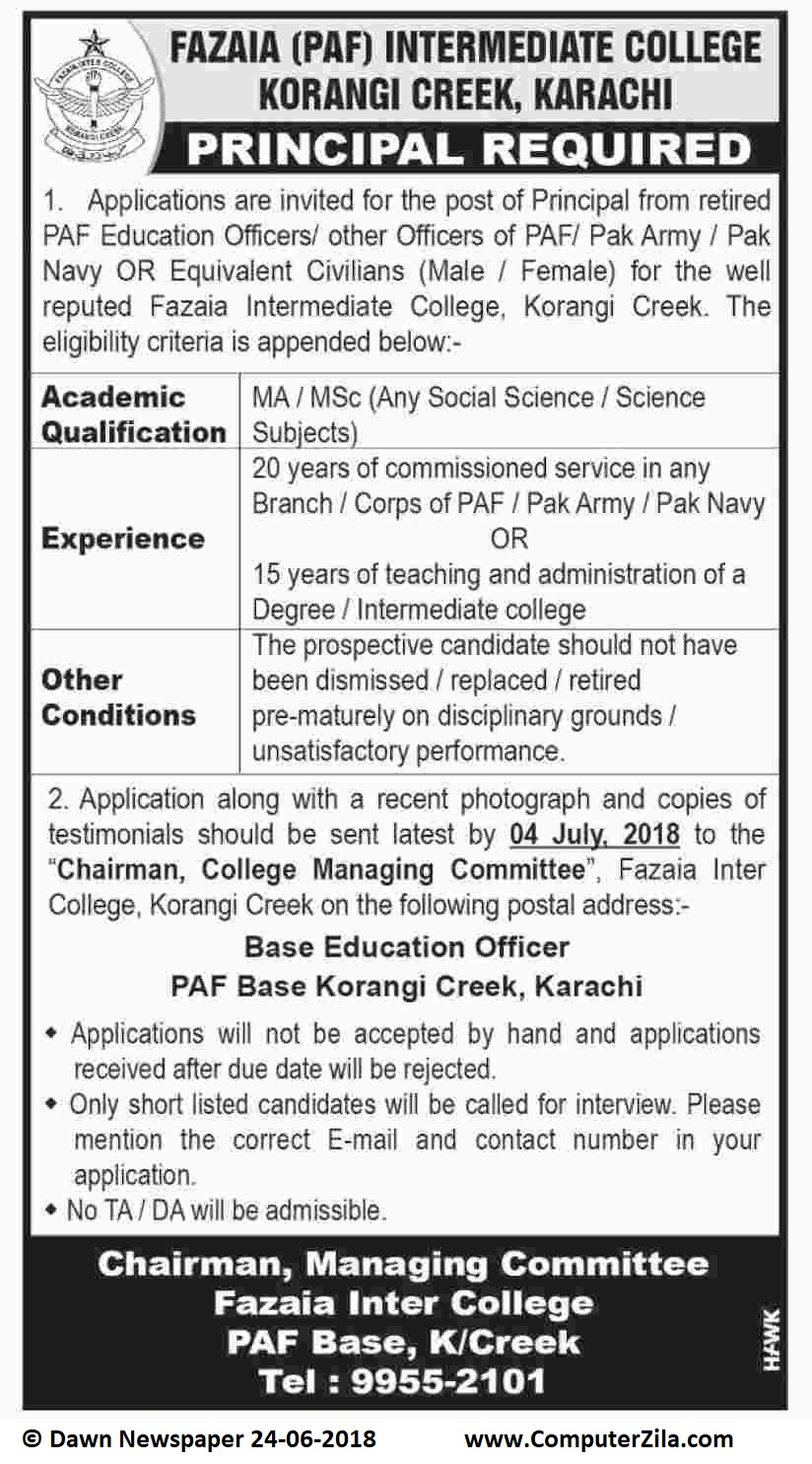 Principal Required at Fazaia (PAF) Intermediate College Korangi Creek