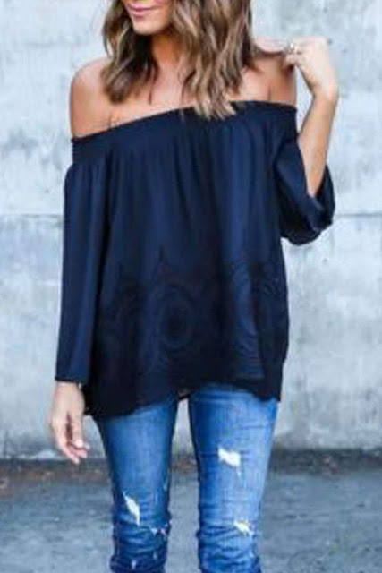 Iyasson Off Shoulder Long Sleeve Chiffon Tops