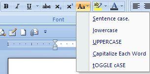Cara merubah huruf besar atau huruf kecil dengan Change case di word 2007