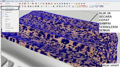 cara mengatur material di object yang tidak rata