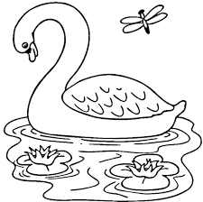 Printable Goose in the Lake Coloring Pages For Kids