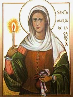 Imagen de Santa Maria de la Cabeza sosteniendo una Vela en la Mano Derecha