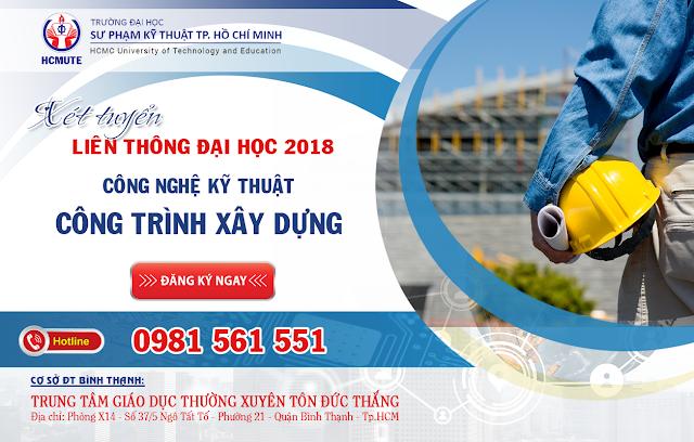 Xét tuyển liên thông ĐH ngành công nghệ kỹ thuật công trình xây dựng năm 2018 tại TP. Hồ Chí Minh