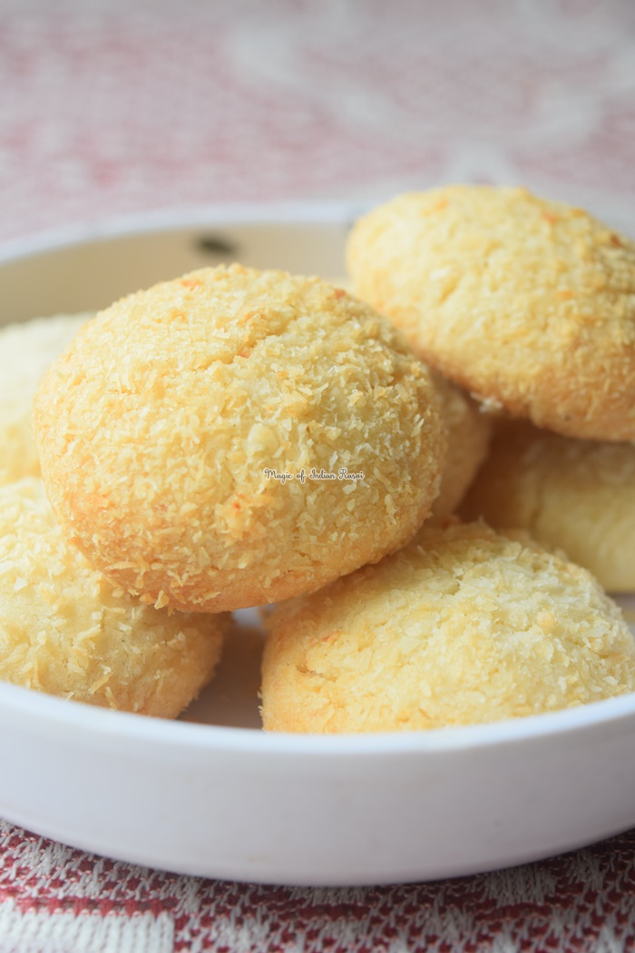 Coconut Cookies (Bakery Style) Recipe - Eggless Coconut Biscuits - कोकोनट कूकीज  रेसिपी - Priya R - Magic of Indian Rasoi