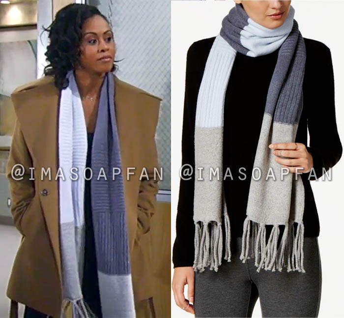Jordan Ashford, Vinessa Antoine, Blue and Beige Colorblock Knit Scarf, General Hospital, GH