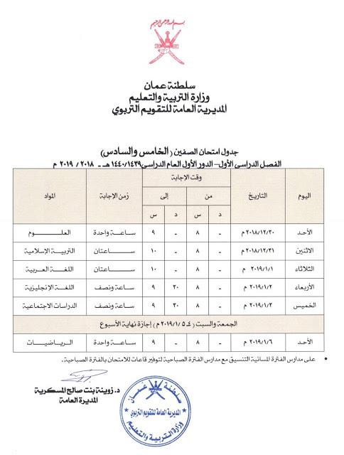 جدول امتحان الصف الخامس والسادس الفصل الاول الفترة الاولي 2018-2019 سلطنة عمان