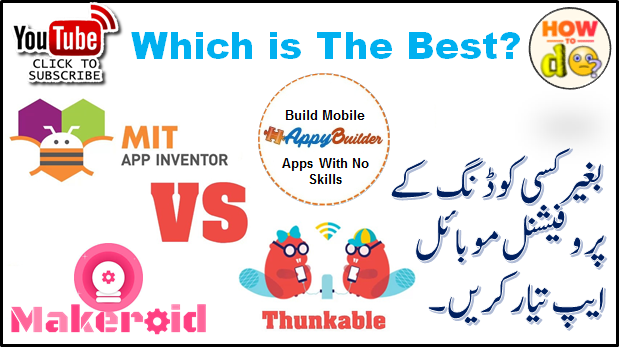 Comparison between Appybuilder, Thunkable, Makeroid and App Inventor