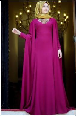 Model Baju Gamis Terbaru Dari Bahan Satin Desain Modern 2017 Yang