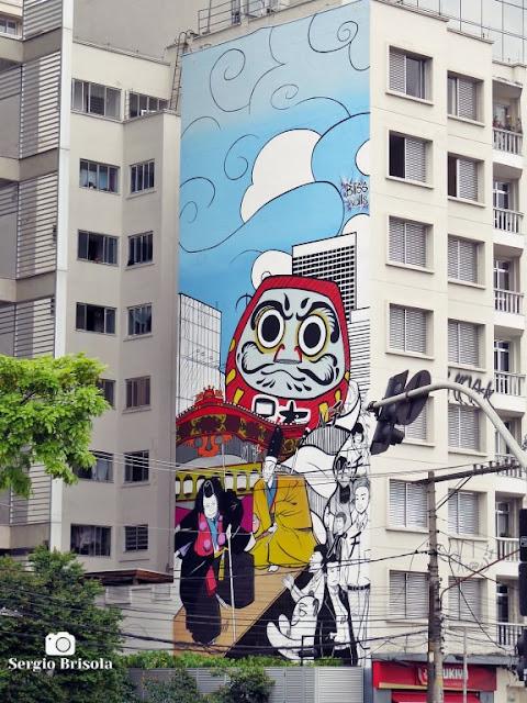 Vista ampla do Mural Cultura Oriental - Pinheiros - São Paulo