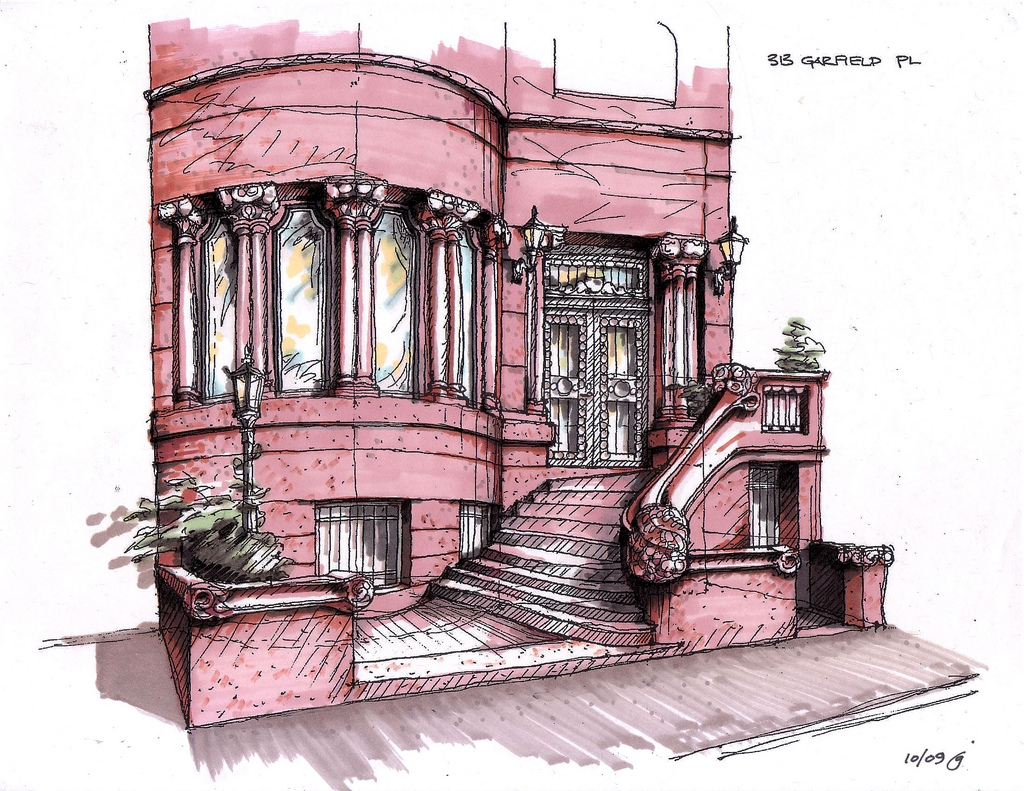 08-313-Garfield-Place-Color-James-Anzalone-Freehand-Sketches-of-Park-Slope-Brooklyn-USA-www-designstack-co