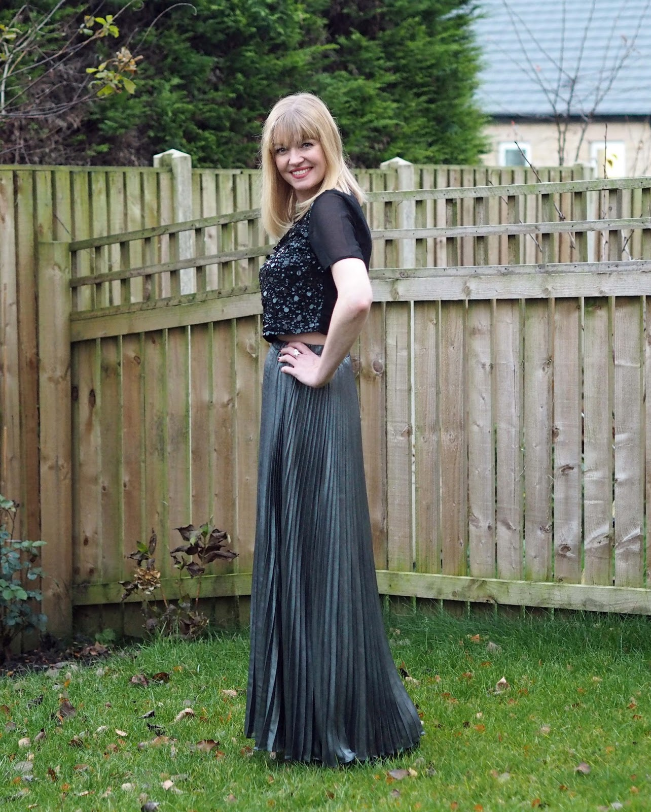 Black sequin crop top, foil pleated maxi skirt, over 40