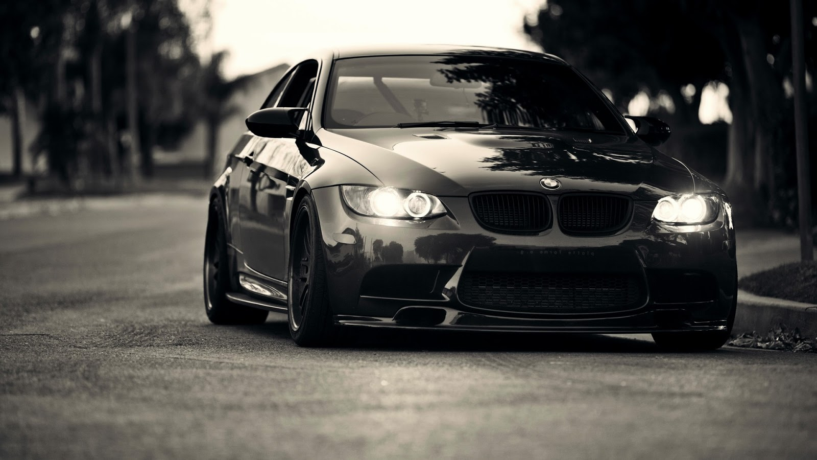BMW Black Front View ~ Mystery Wallpaper