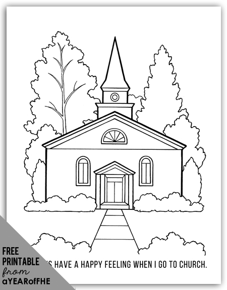 A Year of FHE // FREE coloring page of an LDS church for young kids.  This would be great to print out and have kids color during sacrament meeting. #lds #mormon #coloringpage
