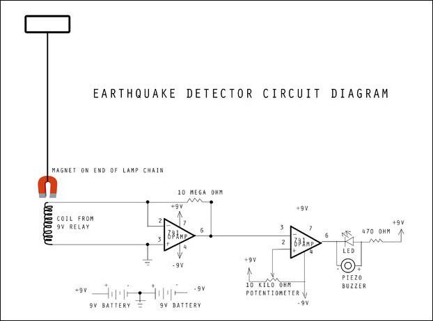 الدائرة الالكتروينة لمستكشف الزلازل والاهتزازات الارضية
