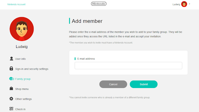 Nintendo Account add family group member enter the e-mail address