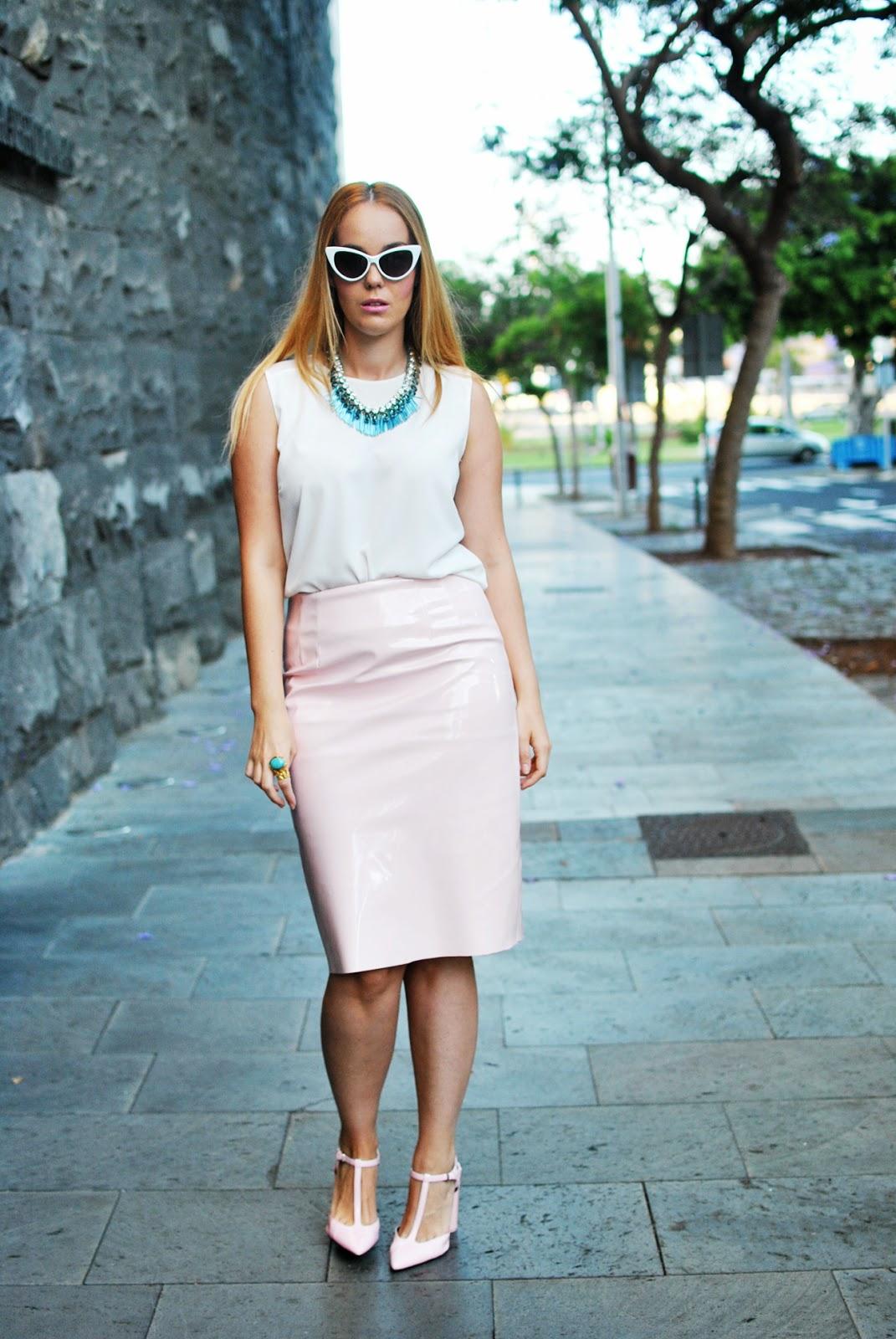 nery hdez, vinilo skirt, midi skirt, fashion union, vinyl skirt, ottaviani bijoux,zerouv