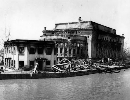 Damaged Manila Central Post Office as viewed from MacArthur Bridge.