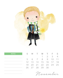Calendario 2017 de  Harry Potter para Imprimir Gratis Noviembre.
