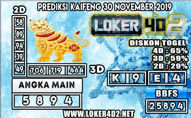 PREDIKSI TOGEL KAIFENG POOLS LOKER4D2 30 NOVEMBER 2019