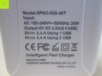 Aufdruck: [Smart Port & LCD Bildschirm] aLLreLi 24W (5V 4,8A) 2-Port USB Reiseladegerät Kit mit austauschbarem (EU,UK,US,UK) Stecker - [Universal] Ladegerät für Smartphones & Tablets (z.B. iPhone 6S / 6 Plus / 5S / 5C / 4S, iPad Air 2 / Mini 3 / 4, Samsung Galaxy S6 Edge / S5 / S4 / S3, Note 5 / 4 / 3 / 2, Galaxy Tab 3 / 2, HTC One M9 / M8, Google Nexus 5 / 7 / 10) [Farbe: Weiß]
