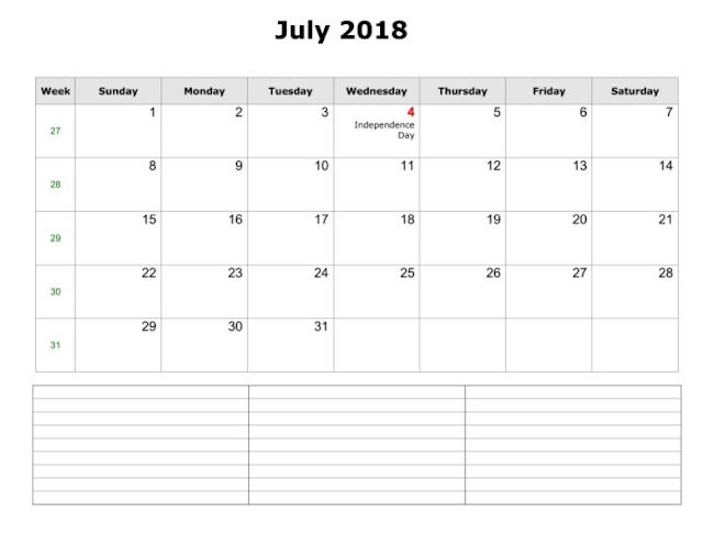 July 2018 Blank Calendar, 2018 July Blank Calendar, Blank Calendar July 2018, Calendar 2018 July Template, Blank 2018 July Calendar