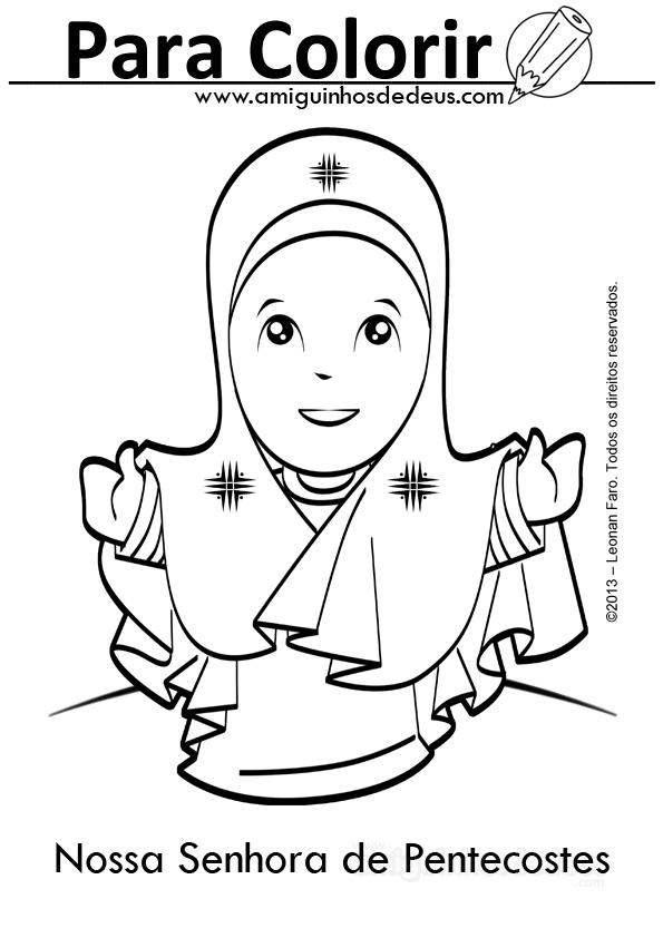 Nossa Senhora De Pentecostes Desenho Para Colorir Amiguinhos De Deus