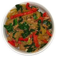 Stir fry no carbs - onions, red and white pepper, tuna, spinach