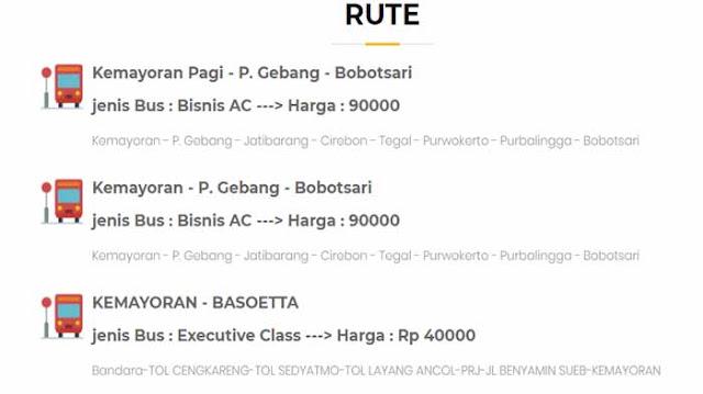 Harga Tiket Bus Jakarta Brebes