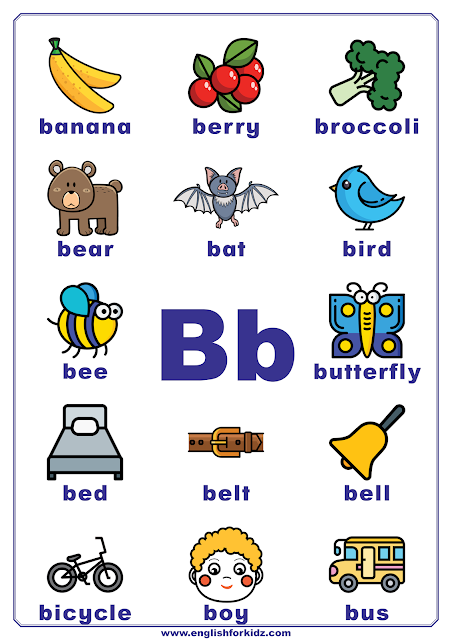 Printable alphabet poster - letter B with pictures - classroom wall decoration