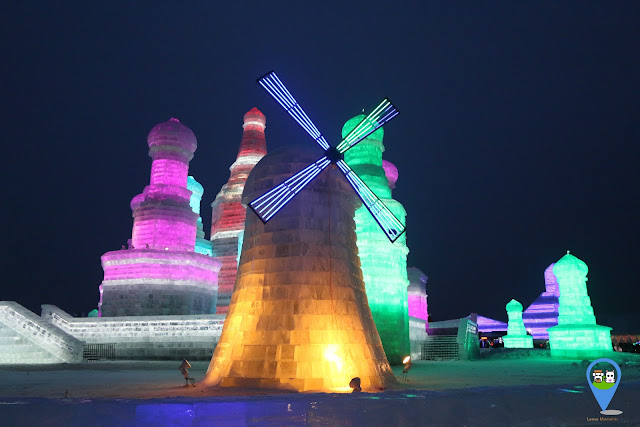 Windmill Ice sculpture at Harbin Ice Sculpture Exhibition in Heilongjiang, China