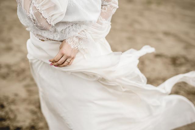 Koronki i muśliny w kreacji ślubnej bocho