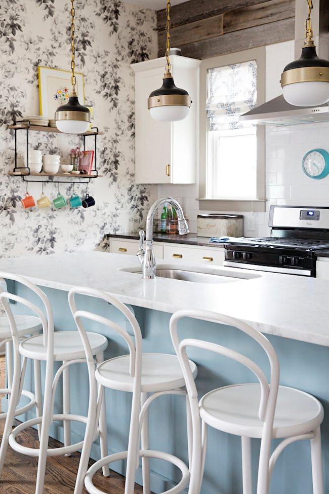 Benjamin Moore Van Courtland Blue kitchen island