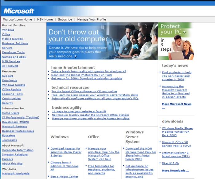 screenshot sito microsoft 2003