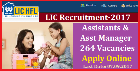 LIC HFL Recruitment Notification 2017 for 264 Vacancies of Assistants & Asst Manager Posts Apply Online @lichousing.com | Life Insurance Corporation of India Housing Finance Limited inviting Online Applications from Eligible Inidan candidates for Assistants and Assistant Manager Posts. Important dates How to Apply Qualifications Eligibility Criterea Scheme of Examination Selection Procedure Syllabus Online Examination and Interview based Selection for the Recruitment Notification LIC Recruitment 2017 Assistants and Assistant Manager Posts all over the India Online Applications are invited from eligible candidates who must be an Indian Citizen for selection and appointment as Assistant/Assistant Manager lic-hfl-recruitment-notification-2017-assistant-manager-vacancies-apply-online-lichousing.com-register