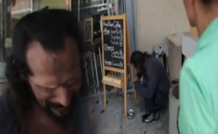 homeless man eating dog food