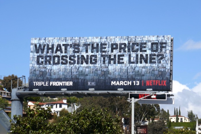 price crossing line Triple Frontier billboard