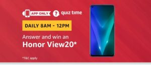 (All Answers) Amazon Honor View20 Quiz – Answer & Win Honor View20