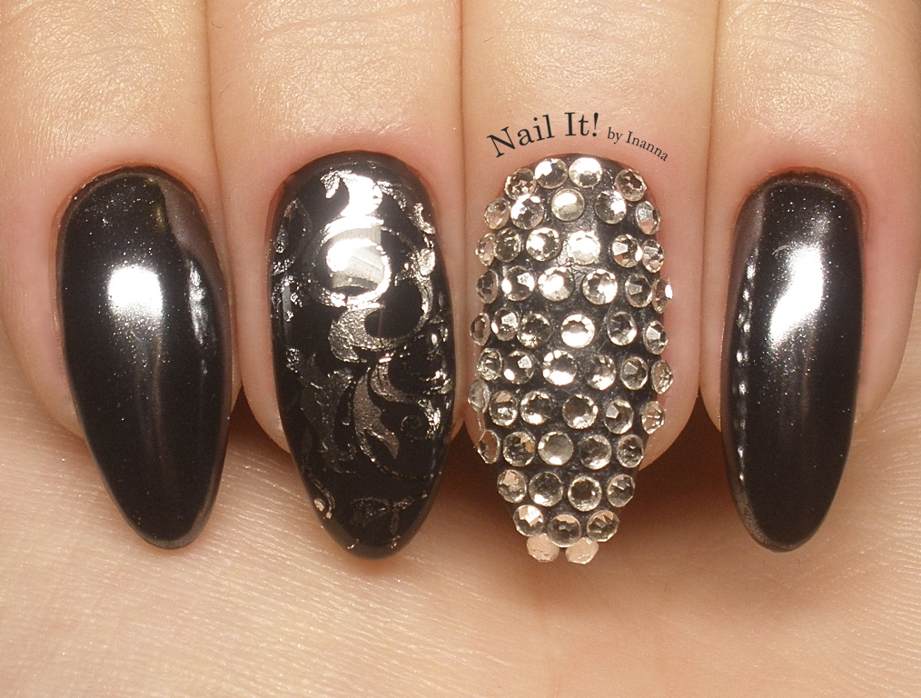 """Glam Rock"" Nail Art - Moyra ""Crystal Stone Stamping"" and ""Foil Stamping"""