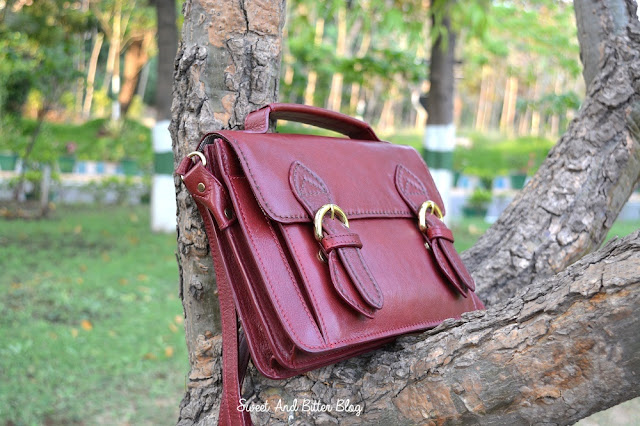 Hidesign Chione Dark Red Leather Bag