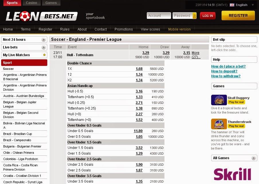 Leon Bets Premier League Screen