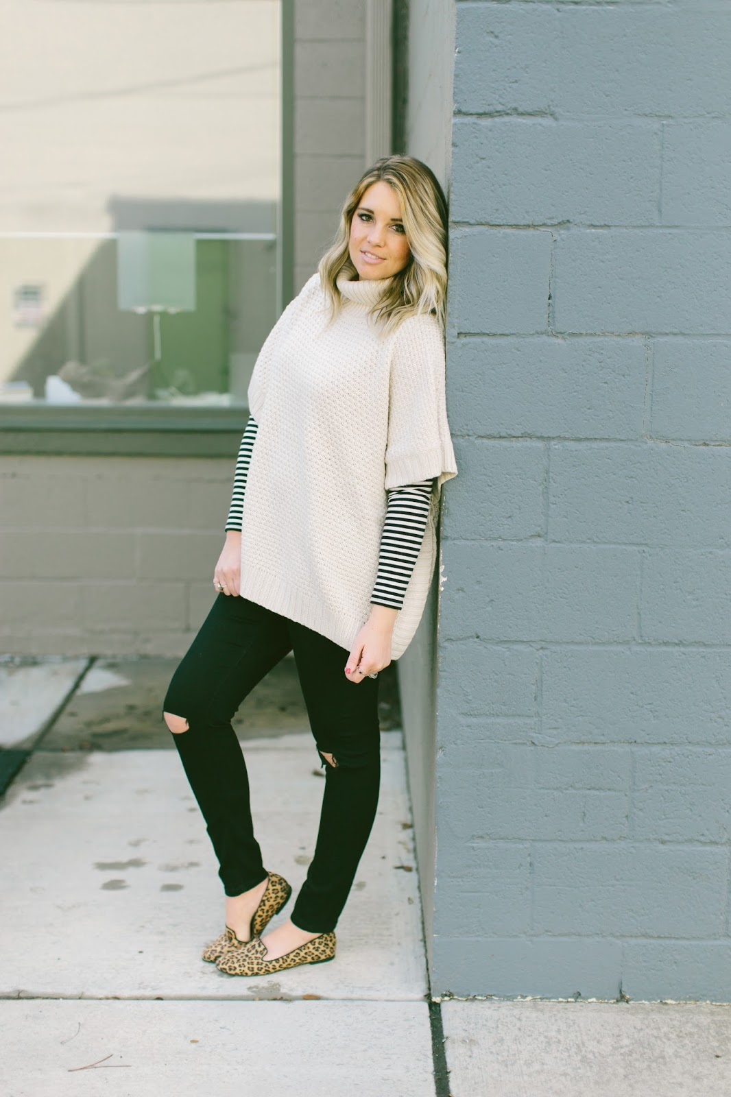 Utah Fashion Blogger, Stripes, Poncho, Winter Outfit