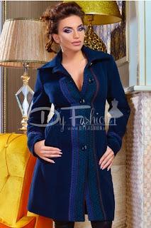 Palton dama gros de iarna bleumarin modern